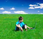 Computing outdoors Royalty Free Stock Photos