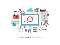 Computing and programming flat line illustration Stock Image