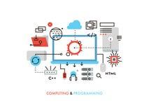 Computing and programming flat line illustration royalty free illustration