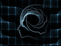 Computing Soul Geometry. Geometry of Soul series. Composition of profile lines of human head on the subject of education, science, technology and graphic design Royalty Free Stock Photo