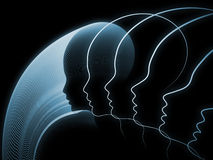 Computing Soul Geometry. Geometry of Soul series. Composition of profile lines of human head on the subject of education, science, technology and graphic design Royalty Free Stock Photos