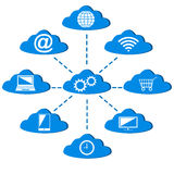 Computing technology scheme with icons. Royalty Free Stock Images