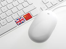 Computor keyboard with Flags Royalty Free Stock Photography