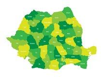 Comtés administratifs de la Roumanie Carte de vecteur à quatre nuances de vert illustration libre de droits