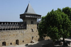 Comtal城堡在Carcassonne城堡的  库存图片