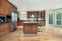Comtemporary kitchen. Contemporary kitchen with island with wood cabinets Stock Images