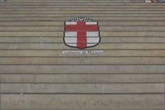 Comune二在台阶绘的米兰商标 免版税库存图片