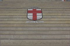 Comune di Milano logo painted on the stairs Royalty Free Stock Images