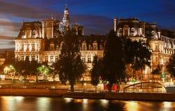 Comune di Parigi alla notte, Francia Fotografie Stock Libere da Diritti