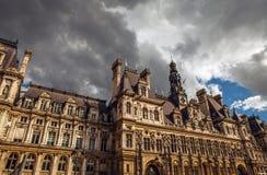 comune Hotel-de-Ville a Parigi - città dell'alloggio della costruzione dell'amministrazione del ` s di Parigi Immagine Stock Libera da Diritti