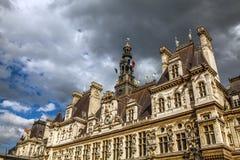 comune Hotel-de-Ville a Parigi - città dell'alloggio della costruzione dell'amministrazione del ` s di Parigi Fotografie Stock