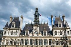 comune Hotel-de-Ville a Parigi - città dell'alloggio della costruzione dell'amministrazione del ` s di Parigi Immagine Stock