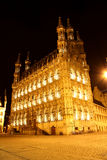 Comune Lovanio - nel Belgio - alla notte Fotografia Stock