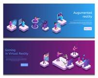 Comunicação em linha isométrica, jogo virtual ilustração stock