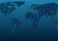 Comunicações do mapa do mundo ilustração stock