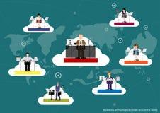 Comunicações empresariais do vetor em todo o mundo, trocando o projeto liso ilustração stock