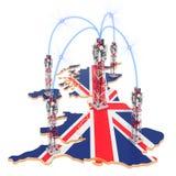 Comunicações móvéis no Reino Unido, torres da pilha no mapa rendi??o 3d ilustração stock