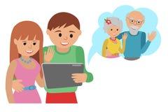 Comunicações sociais dos meios do estilo liso da ilustração do vetor da família Os pais dos pares da mulher do homem fazem a cham ilustração stock