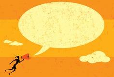 Comunicación con un megáfono Imagen de archivo libre de regalías