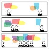 Comunicación de la burbuja del discurso con la historia de In Three Box del hombre de negocios Fotografía de archivo libre de regalías