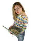 Comunicación de la computadora portátil Foto de archivo libre de regalías