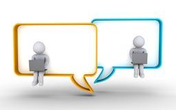 Comunicación de la gente con los ordenadores portátiles stock de ilustración