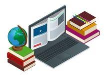 Comunicación de las TIC o aprendizaje electrónico o Internet como concepto de la base de conocimiento Ejemplo plano de la tecnolo libre illustration