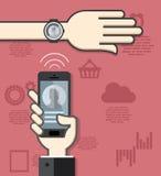 Comunicación de Smartwatch y del smartphone Fotos de archivo