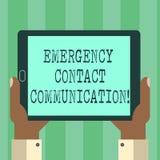 Comunicación del contacto de la emergencia del texto de la escritura Sistema o planes de la notificación del significado del conc stock de ilustración