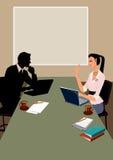 Comunicación del hombre y de la mujer de negocios en oficina Imagen de archivo