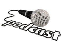 Comunicación del micrófono del cordón del podcast que comparte la opinión Informatio libre illustration