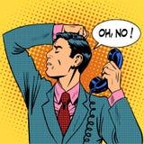Comunicación del teléfono del hombre que habla deprimido Fotografía de archivo