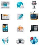 Comunicación del vector y conjunto social del icono de los media. PA Imagenes de archivo