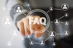 Comunicación del web de la conexión del FAQ del botón del negocio imagenes de archivo