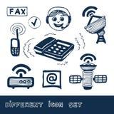 Comunicación e iconos sociales del Web de la red fijados Foto de archivo