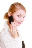 Comunicación Empresaria que habla en el teléfono celular Imagenes de archivo