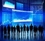 Comunicación empresarial en el mercado de acción imagen de archivo