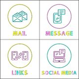 Comunicación en línea brillante alrededor de sistema linear de los iconos ilustración del vector