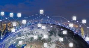 Comunicación en línea 4 de la tecnología del mundo del establecimiento de una red social 0 de elementos de esta imagen equipados  Imágenes de archivo libres de regalías
