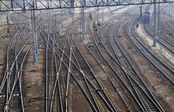 Comunicación ferroviaria. Ramificación de los carriles. Imagen de archivo libre de regalías