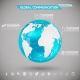 Comunicación global abstracta de Infographics con la bola de la esfera de la tierra del planeta de los iconos en Gray Bacground Ve Fotografía de archivo