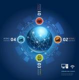 Comunicación global de Internet con órbitas. Imagen de archivo libre de regalías