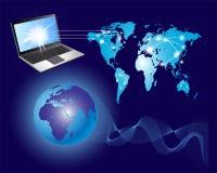 Comunicación global y mapa del mundo Fotografía de archivo