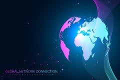 Comunicación gráfica geométrica del fondo Núblese el diseño de concepto de las conexiones de red computacional y global Datos gra ilustración del vector