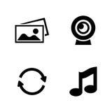 Comunicación Iconos relacionados simples del vector Foto de archivo