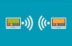 Comunicación inalámbrica entre los dispositivos Concepto de la conectividad Foto de archivo