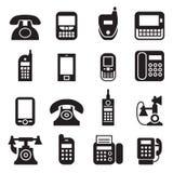 Comunicación, llamada, vintage del teléfono, iconos retros del teléfono Imagen de archivo libre de regalías