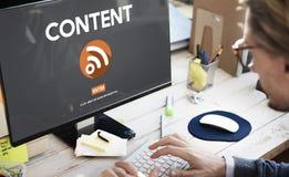 Comunicación social contenta Co de la conexión del establecimiento de una red del blog medios fotos de archivo libres de regalías