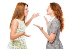 Comunicación verbal de la mujer emocional imagenes de archivo