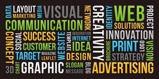 Comunicación y márketing - nube de la palabra imagen de archivo